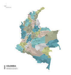 Colombia higt detailed map with subdivisions vector
