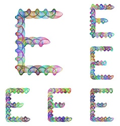Colorful ellipse fractal font - letter E vector