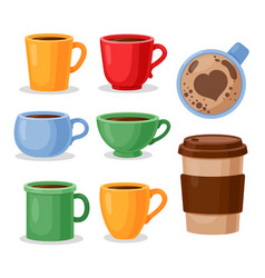 colorful tea cups coffee mug vector image