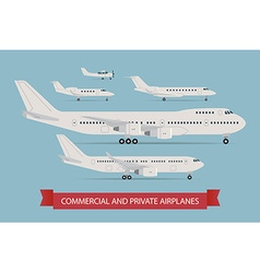 Commercial and private airplane icon set vector