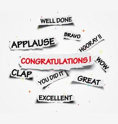 Congratulations sign on ripped paper over confetti vector