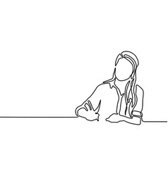 Continuous line woman writing with pen woman vector
