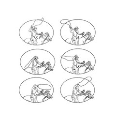 Cowboy lasso riding horse drawing collection set vector