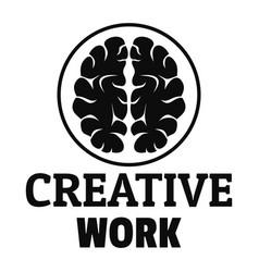 creative brain work logo simple style vector image