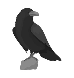 Crow of viking god icon in monochrome style vector image