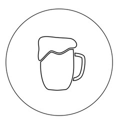 cup beer icon black color in circle isolated vector image