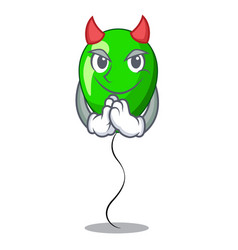 Devil green ballon with cartoon ribbons beautiful vector