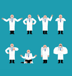 doctor set physician sad and yoga bewildered and vector image
