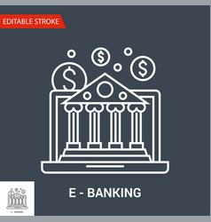 e-banking icon thin line vector image