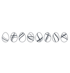 easter egg icons black eggs set isolated white vector image