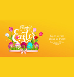 Easter orange banner vector