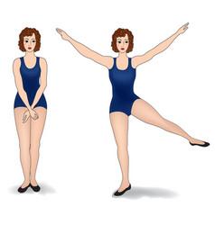 Elegant women silhouettes doing fitness exercises vector