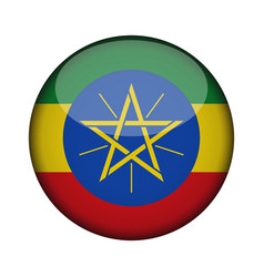 Ethiopia flag in glossy round button of icon vector