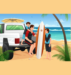 father son on beach vacation vector image