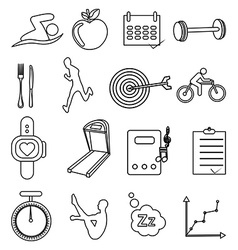 Fitness health line icons set vector image