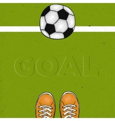 Football field with the word goal The sports vector image