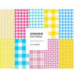 Gingham seamless patterns set vector