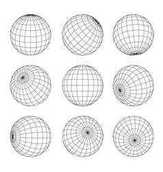 Globe grid set earth planet orb wireframe vector