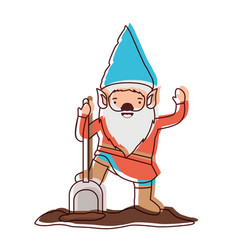 gnome with costume and shovel in watercolor vector image