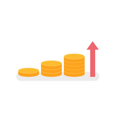 golden coins growth income isolated arrow profit vector image