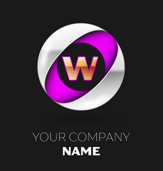 golden letter w logo in the silver-purple circle vector image