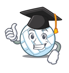 Graduation volley ball character cartoon vector