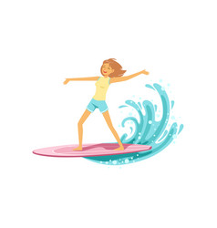 Happy surf girl with surfboard riding a wave vector
