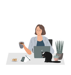 Happy woman working at her desk at home with vector