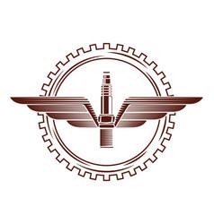 industry automotive spark plug wing gear emblem vector image