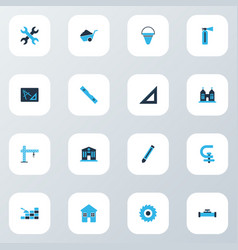 industry icons colored set with pipeline with vector image