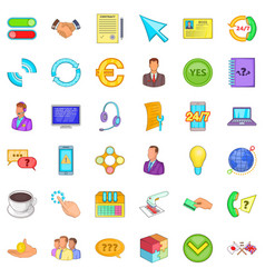 internet connection icons set cartoon style vector image