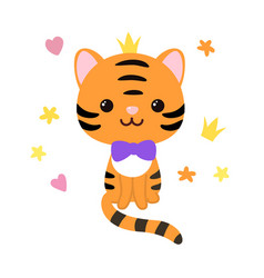 Kawaii cute striped tiger character vector
