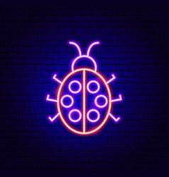 Ladybug neon sign vector