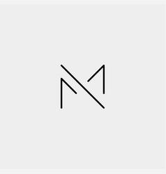 Letter m mm monogram logo design minimal vector