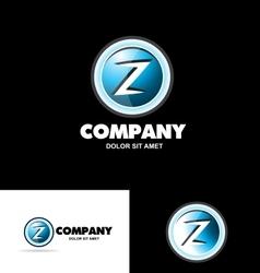Letter Z logo 3d button vector image