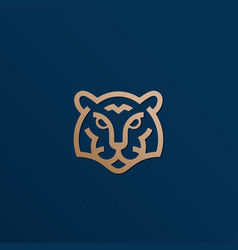 line style golden tiger face abstract icon vector image