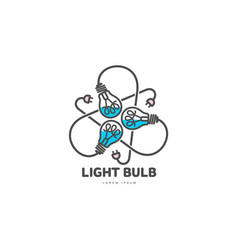 Logo of three light bulbs with powers cords vector