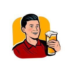 Man with beer mug retro comic pop art vector
