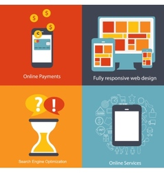 Modern Flat Icon Set for Web and Mobile vector image