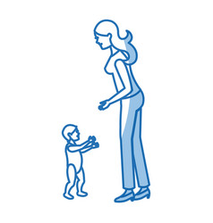 mother and her son child together shadow vector image