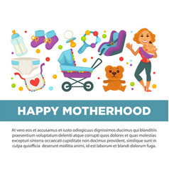 Motherhood happy mother and newborn child clothing vector