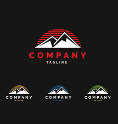 mountain sunset logo vector image