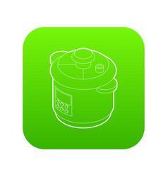 Multi cooker icon green vector