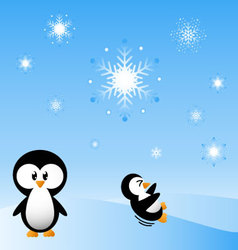 penguins in the snow vector image