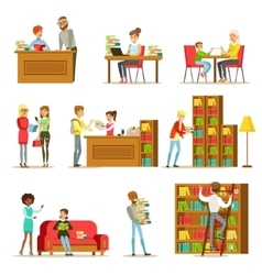 People Talking And Reading Books In Library Set Of vector