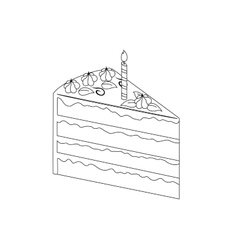 Piece of birthday cake with cream vector image