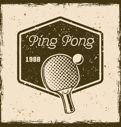 Ping pong or table tennis vintage emblem vector