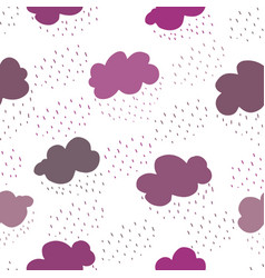pink and purple clouds and rain drops seamless vector image