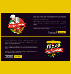 pizza house and restaurant promotional banners set vector image