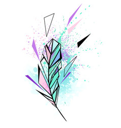 Polygonal feather with watercolor vector